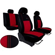 SIXTOL Leather Car Seat Covers with Alcantara EXCLUSIVE Dark Red - Car Seat Covers
