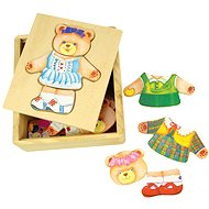 Bigjigs Wooden dressing puzzle in a box - Mrs. Medvědice - Puzzle