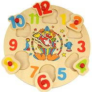 Bigjigs Wooden Inserting Puzzle - Clock with Clown - Puzzle