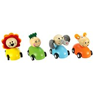 Bigjigs Colorful wooden car with animals - Toy Vehicle