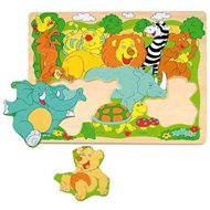 Woody Puzzle on Plate - Cheerful African Animals - Puzzle