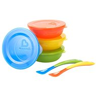 Munchkin - Set of colourful dishes with lids and spoon - Set