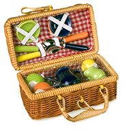Picnic basket with coloured ceramic dishes - Play Set