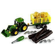 Klein John Deere Tractor with trailer for wood and hay - Toy Vehicle