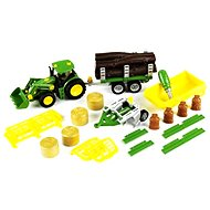 Klein John Deere Tractor with 3 tipper trailers and plow - Toy Vehicle