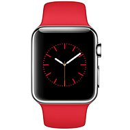 Apple Watch 38mm Stainless Steel Case with Red Sport Band - Smartwatch
