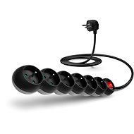 CONNECT IT extension 230V, six sockets + on/off, 2m, black - Extension Cable