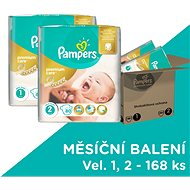 PAMPERS Premium Care size 1 Newborn + size 2 Mini (168pcs) - a monthly supply - Baby Nappies