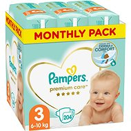 PAMPERS Premium Care Size 3 Midi (204 pcs) - monthly pack - Baby Nappies