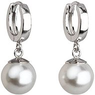 White pearl earrings decorated with Swarovski crystals 31151.1 (925/1000, 4 g) - Earrings