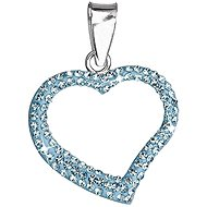 Aqua Pendant Heart Decorated Crystals Swarovski 34093.3 (925/1000; 0.7 g) - Charm