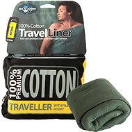 Sea to Summit Cotton Travel liner - Traveler with Pillow Eucaliptus green - Entry into the sleeping bag
